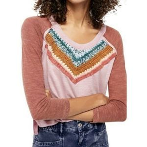 Free People M Spring Bound Crochet Paneled Shirt